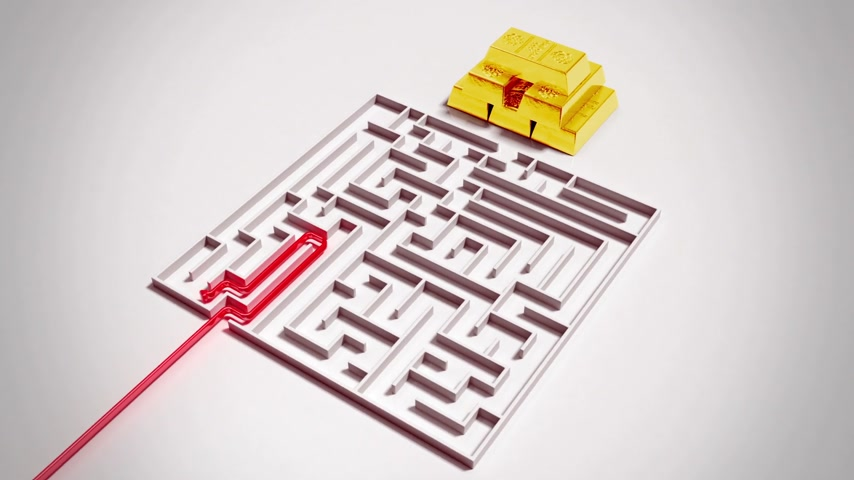 puzle : Finding a way to gold bars in complex maze.  3d animation. Wideo