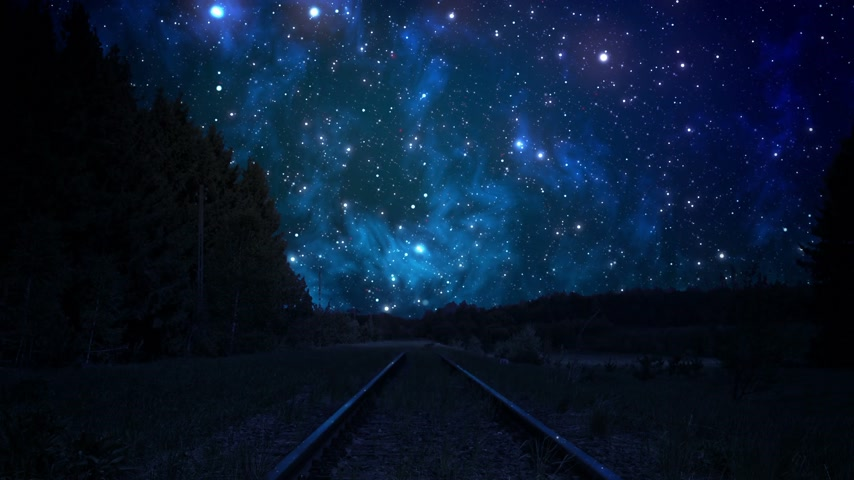 blauwe lucht : Night Sky over rails