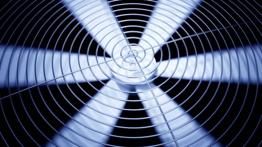powerful : Spinning fan closeup animation can represent air conditioning, ventilation.