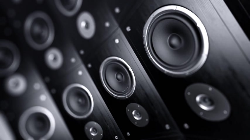 rock music : Rotating wall of speakers. Loopable animation. Stock Footage
