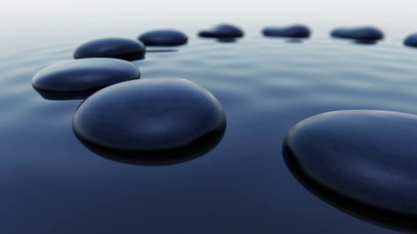 оказывать : Animation is showing 12 black pebbles inside water. Soft lighting with nice gradients. Loopable. Стоковые видеозаписи