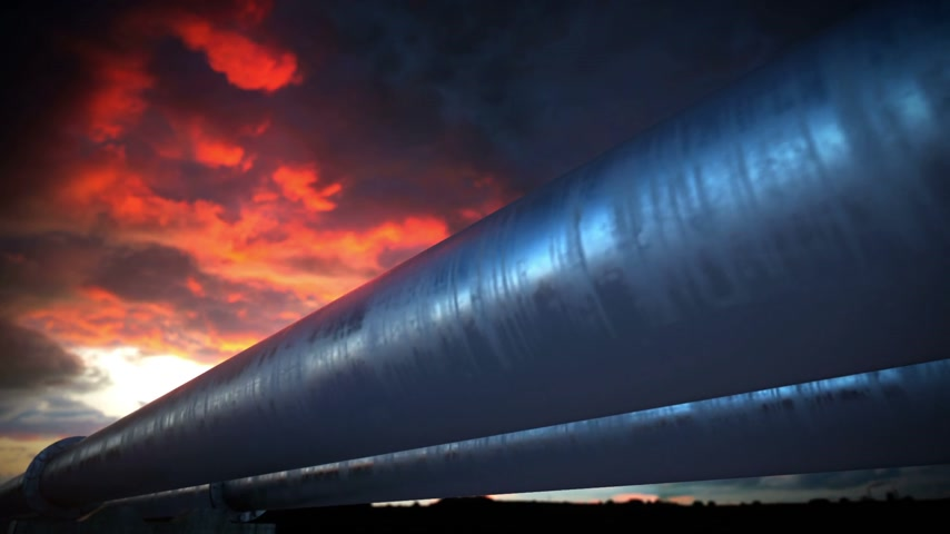 csővezeték : Pipeline transportation is most common way of transporting goods such as Oil, natural gas or water on long distances. Camera is slowly moving along the pipeline. Animation is loopable.