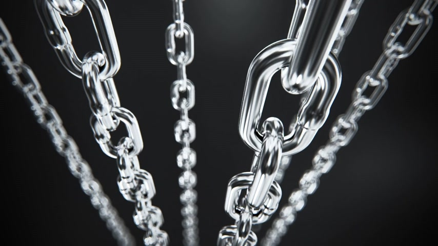 render : Reflective chrome chain moving on a dark background. Loopable animation.