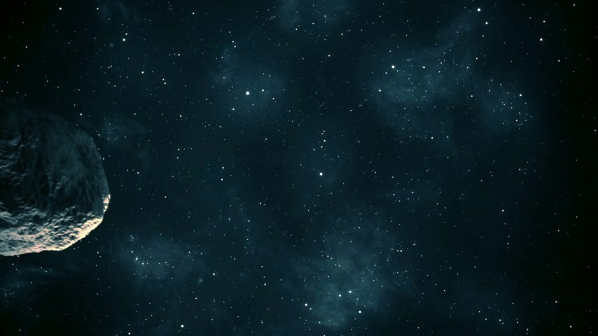 meteorite : Close up on meteor orbiting the planet. Stock Footage
