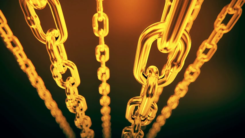 złoto : Reflective gold chain moving on a dark background. Loopable animation.