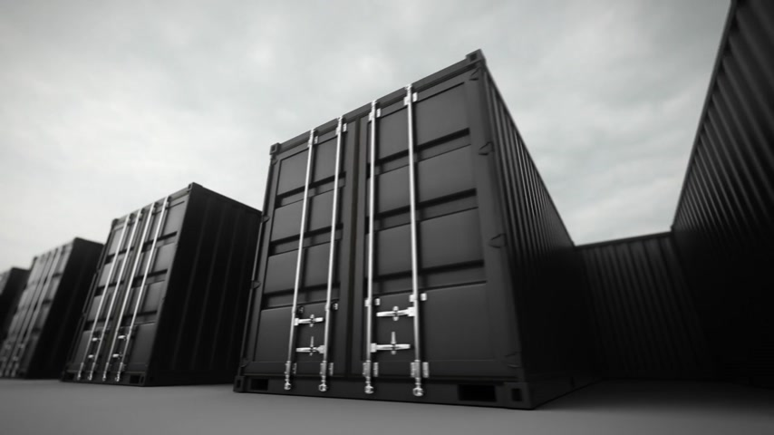 ithalat : Picture of black containers in the row.