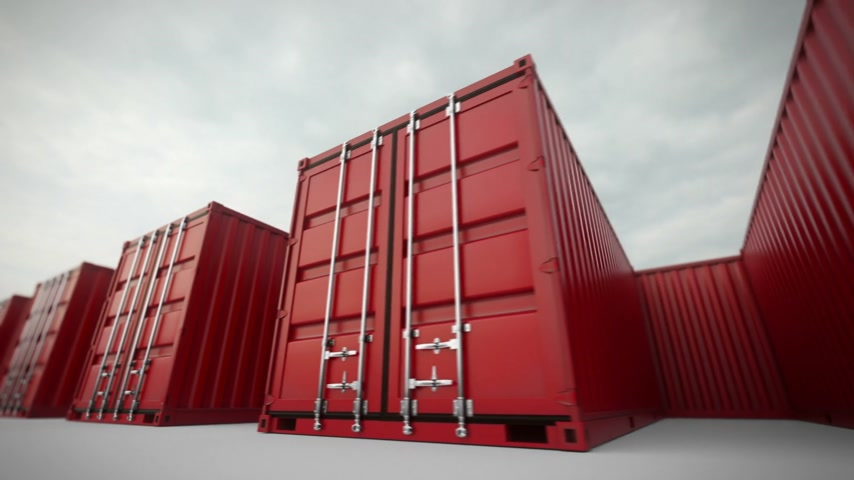 доставлять : Picture of red containers in the row.