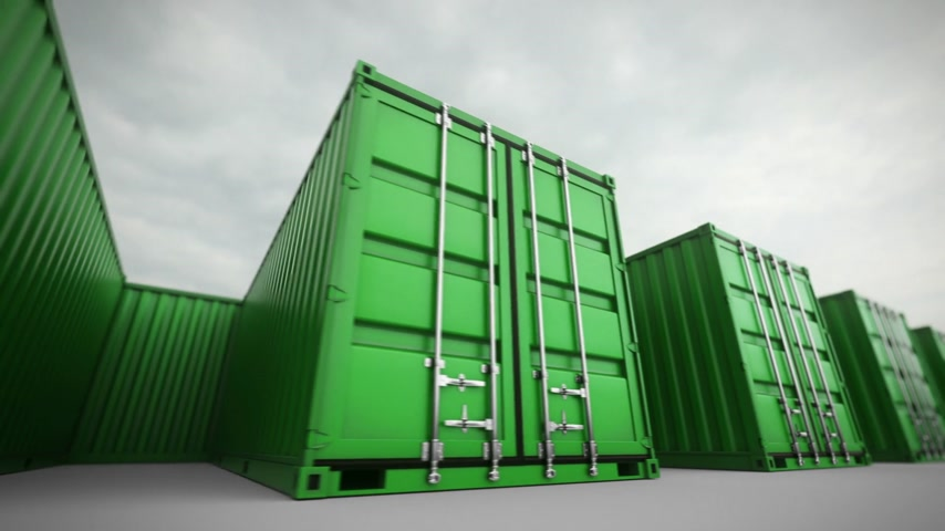 importação : Picture of green containers in the row. Vídeos
