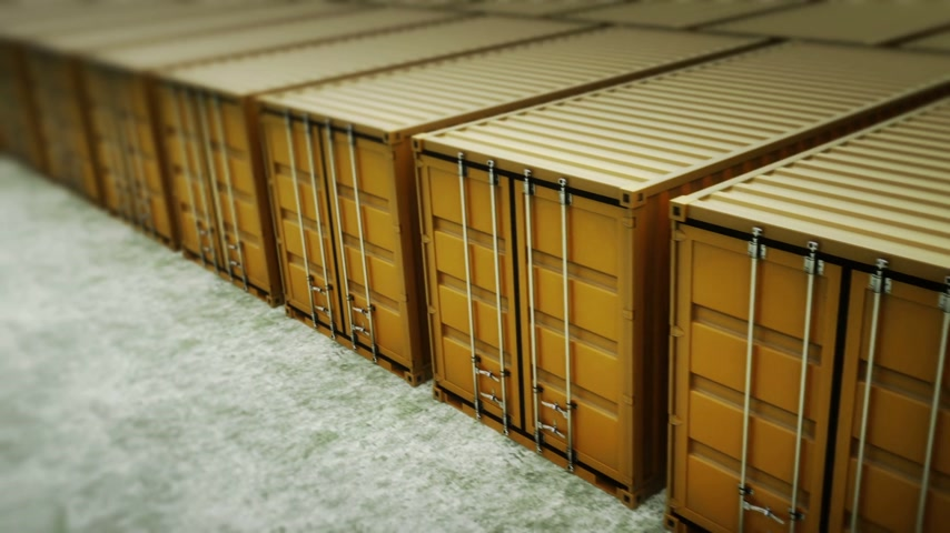 empilhamento : Picture of yellow containers in the row. Stock Footage