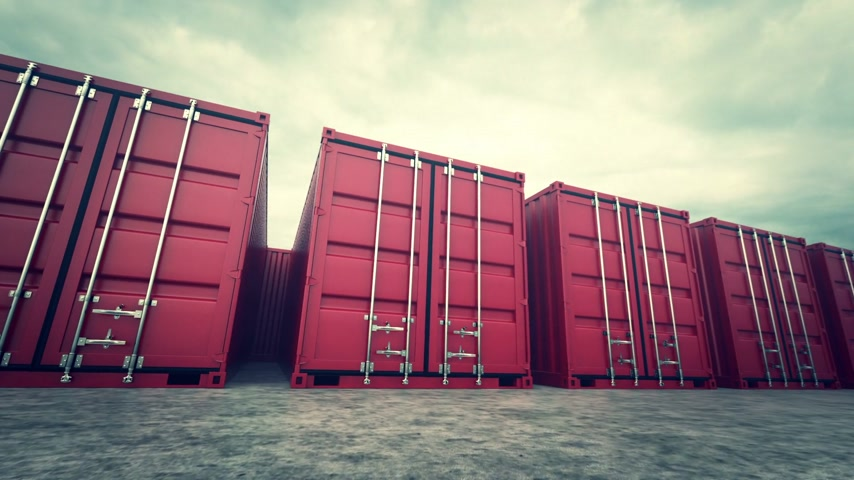mezinárodní : Picture of red containers in the row.