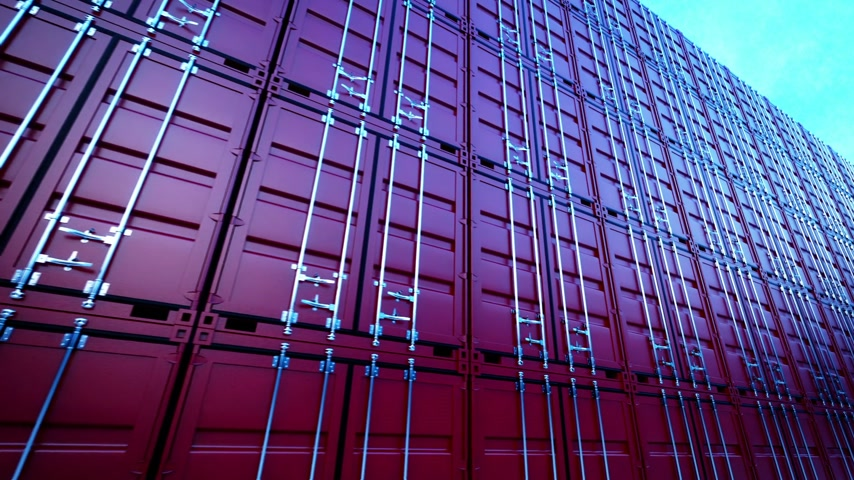 ithalat : Picture of red containers in the row.