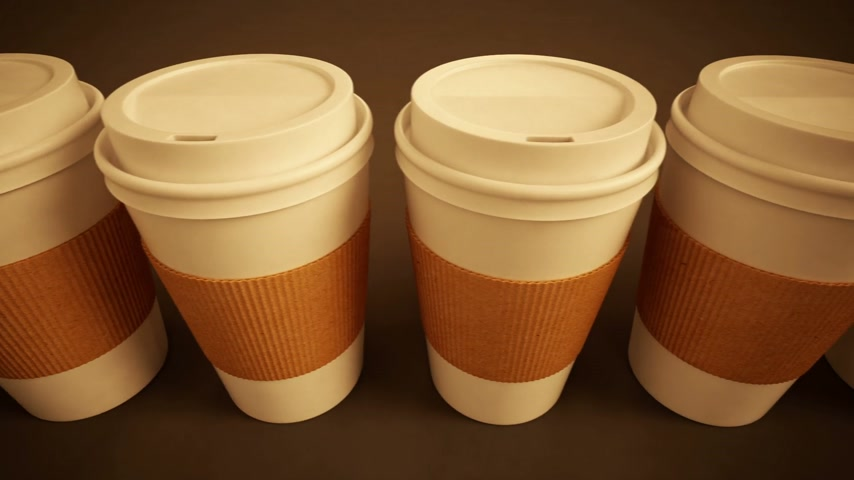 elvihető : Loopable animation of take-away coffee cups with brown holding stripe. Stock mozgókép