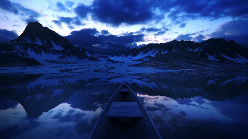 row : Empty little boat in the lake at sunset. Loopable animation
