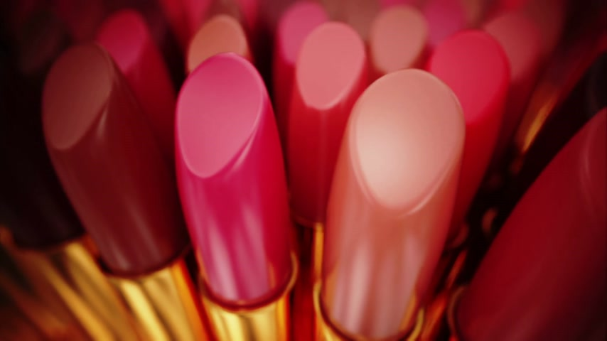 ruj : Image of an lipsticks can represent beauty and can be perfect as an background for fasion related subjects. Looopable animation. Stok Video