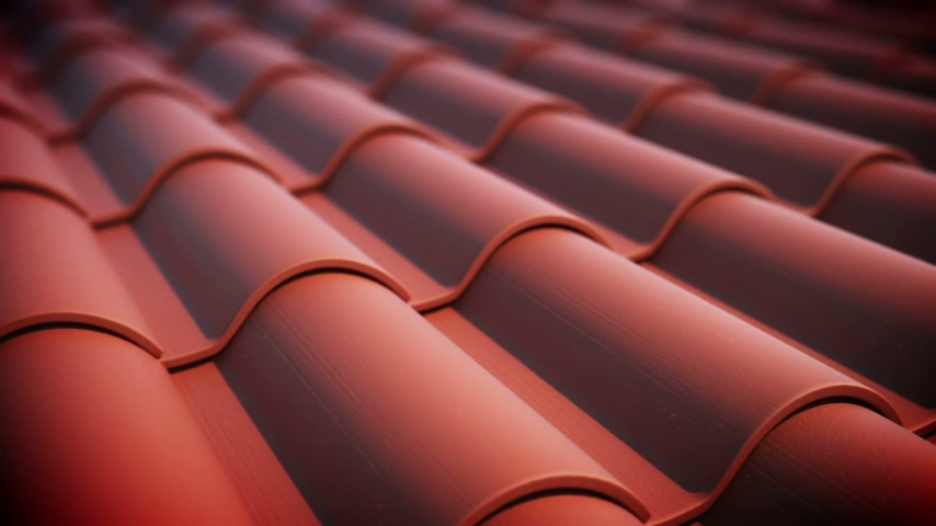 terrakotta : Roof tiles loopable animation. Stock mozgókép