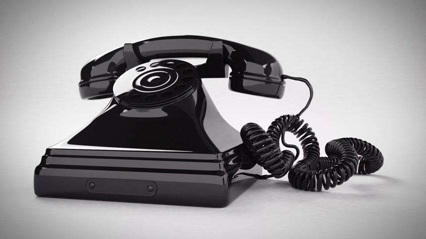kablo : Ringing black retro telephone. CG Animation. Stok Video