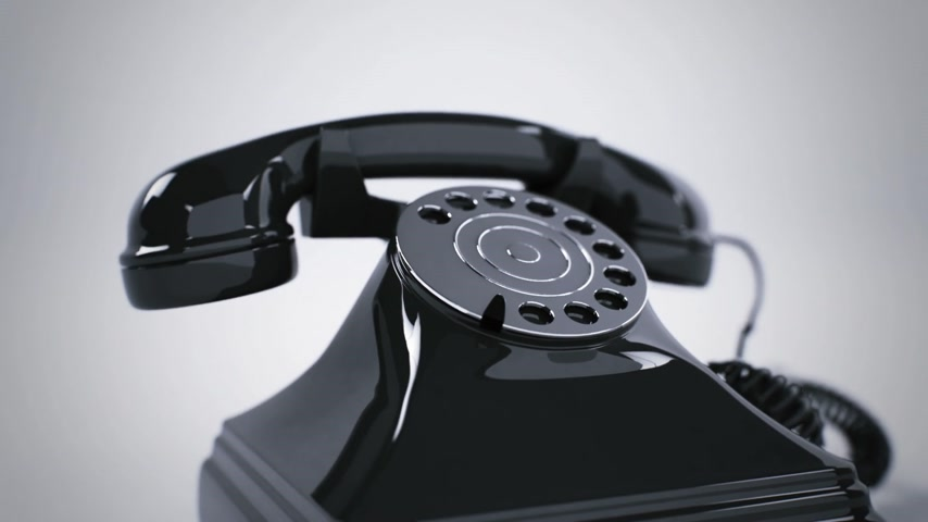 по телефону : Ringing black retro telephone. CG Animation. Стоковые видеозаписи