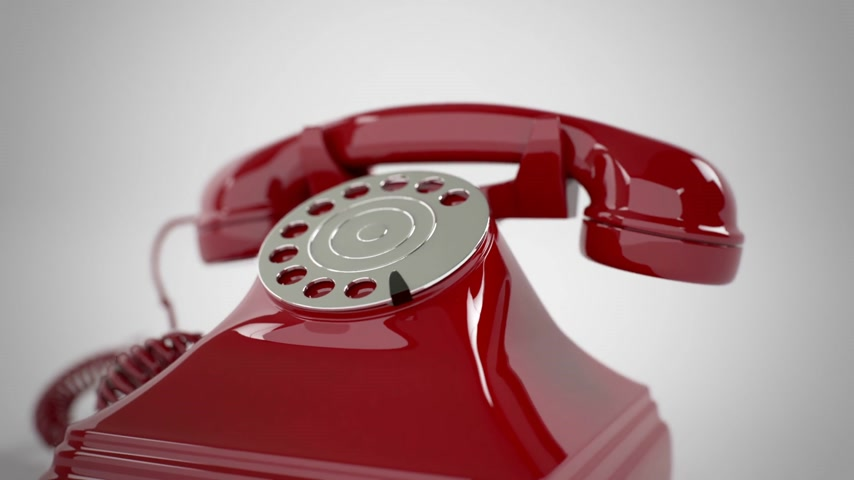 Ringing red retro telephone. CG Animation.