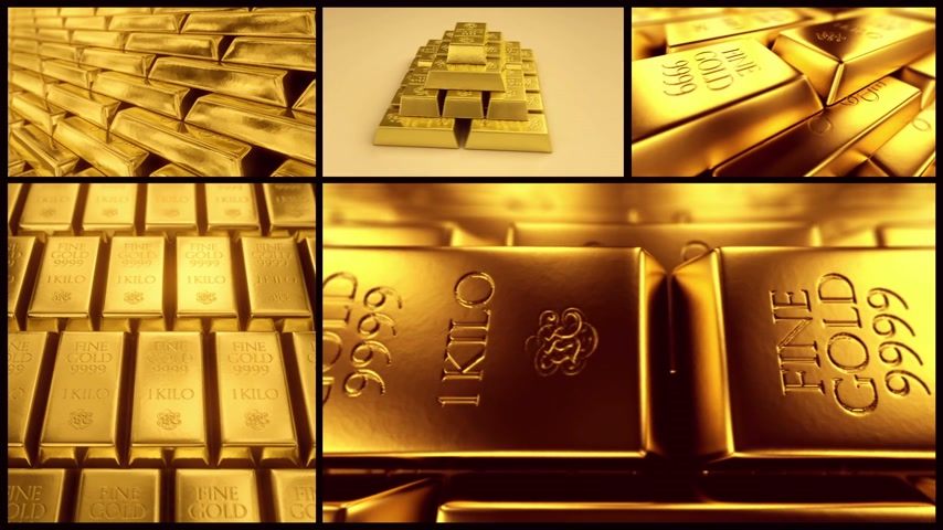 pieniądze : Combination of different shots with gold bars.