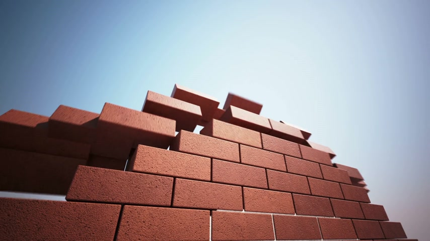 cegła : CG animation of high brick wall building up.