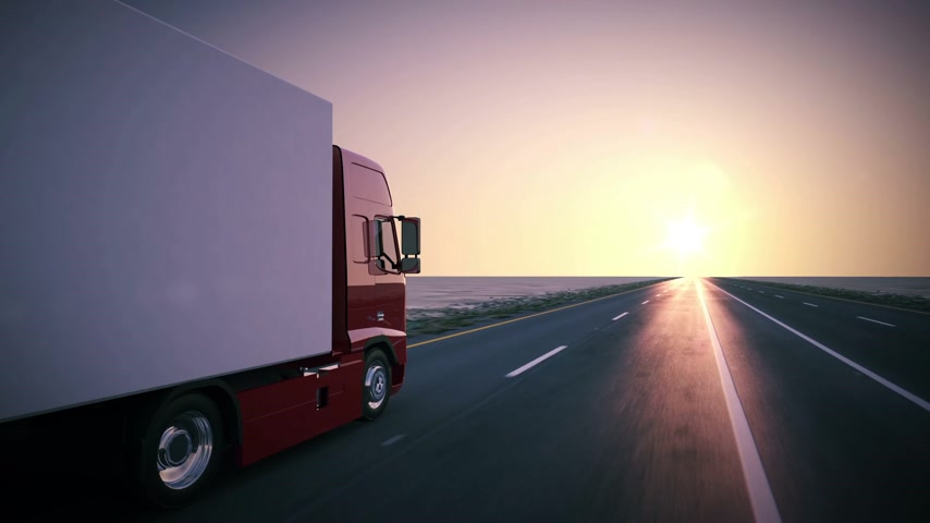 industry : Truck on the road with sunset in the background. Large delivery truck is moving towards setting sun. Stock Footage