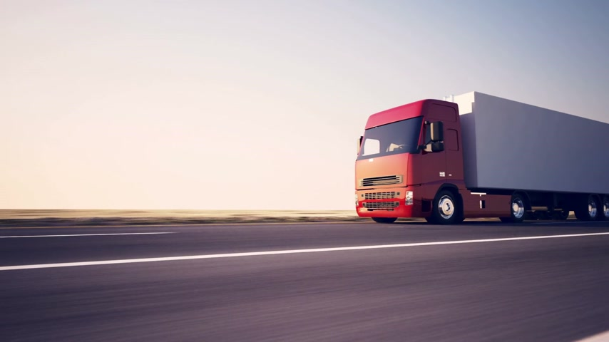 indústria : Truck on the road with sunset in the background. Large delivery truck is moving towards setting sun. Stock Footage