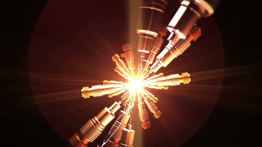 kabel : Spark between optical cables. Wideo