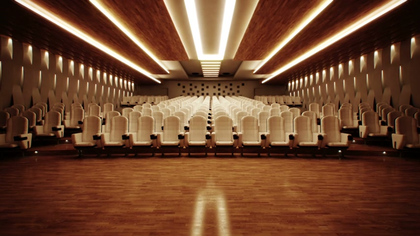 conferência : Large empty cinema with comfortable leather seats.