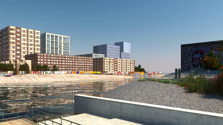 render : Bridge construction process simulation. CG animation. Stok Video