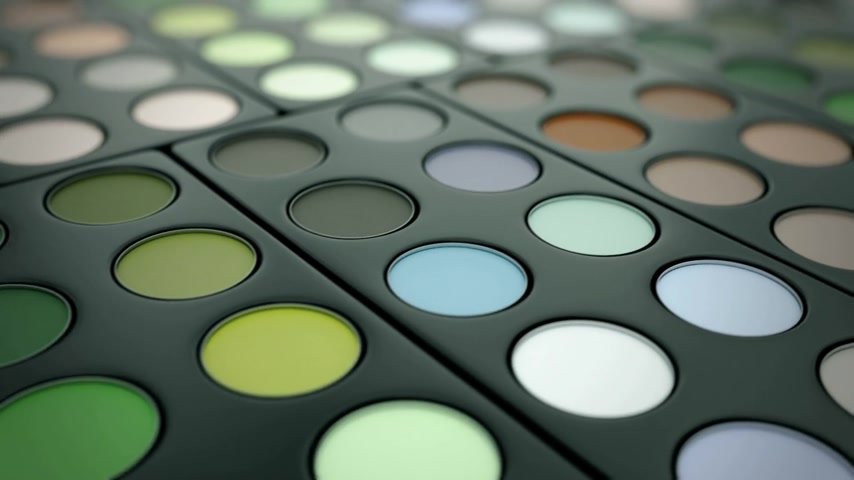 pigmento : Loop animation of a professional eyeshadow palette Vídeos