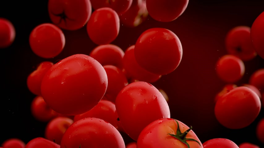 selektif : Tomatoes with water droplets falling down in front of blurry background. Slow motion CG animation.