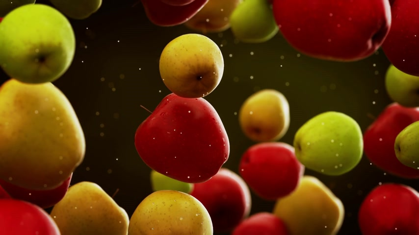tápláló : Apples with water droplets falling down in front of blurry background. Slow motion CG animation.