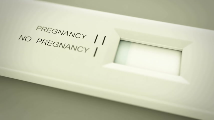 the conception : Pregnancy test in action. Two lines mean pregnant. CG animation