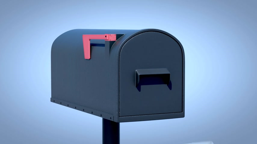 dağılım : Joroleman curbside mailbox with blue semaphore flag. When raised, the flag indicates outgoing mail.