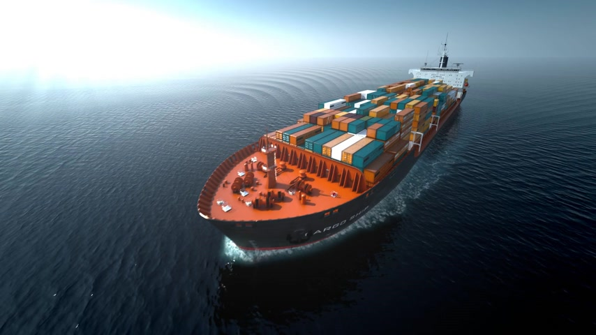 shipping : Aerial shot of container ship in ocean.