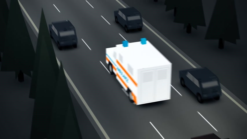 ambulância : Ambulance Speeding On The Street. 2D style animation.