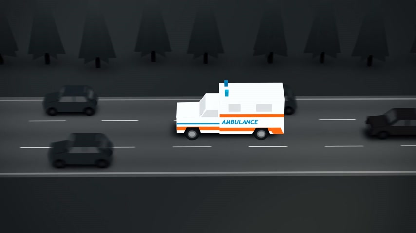 karetka : Ambulance Speeding On The Street. 2D style animation.