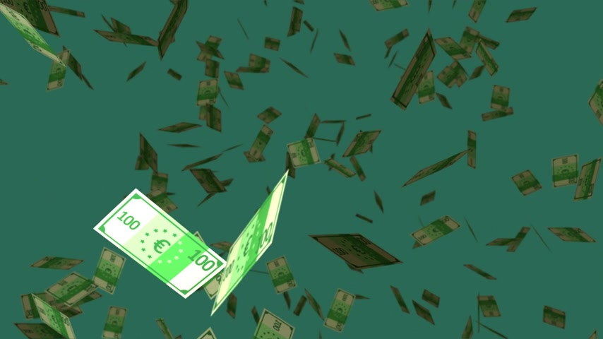 euro : 01531 Falling Hundred Euro Banknotes On Dark Green Background.