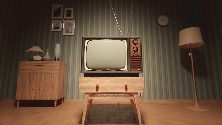 régi : 01547 Authentic Static On Old Fashioned TV Screen At Home Green Screen