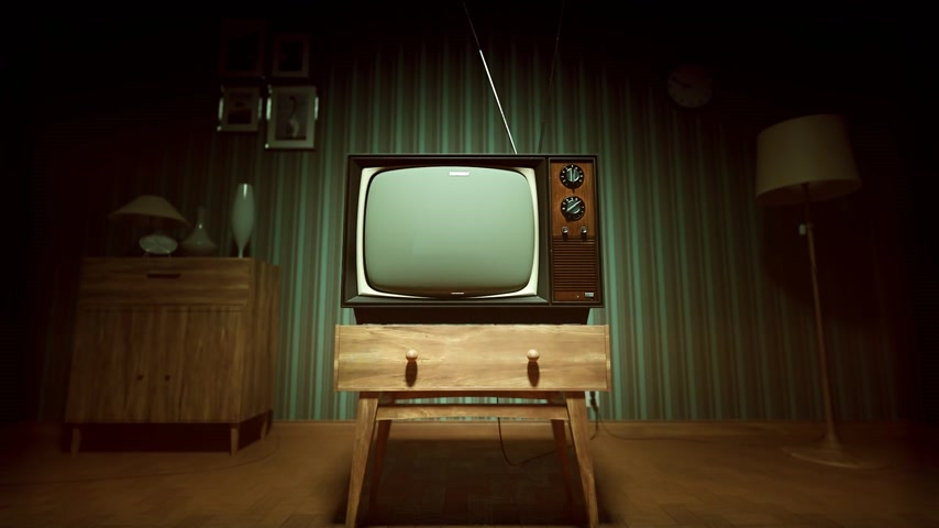 wohnzimmer : 01.549 authentische Static On Old Fashioned TV-Bildschirm zu Hause Green Screen Videos