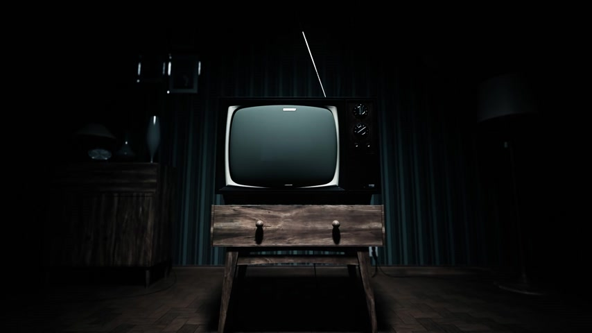 régi : 01551 Authentic Static On Old Fashioned TV Screen At Home Green Screen