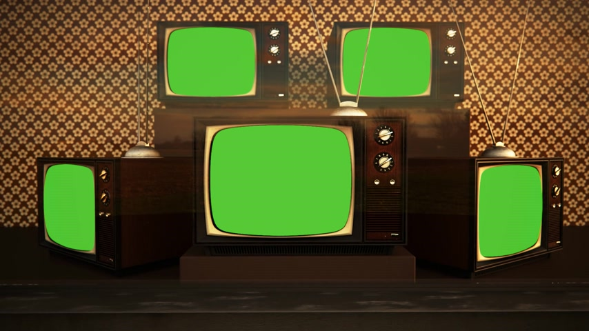 Exposición De color retro viejo aparatos de TV con antena pantalla verde Archivo de Video