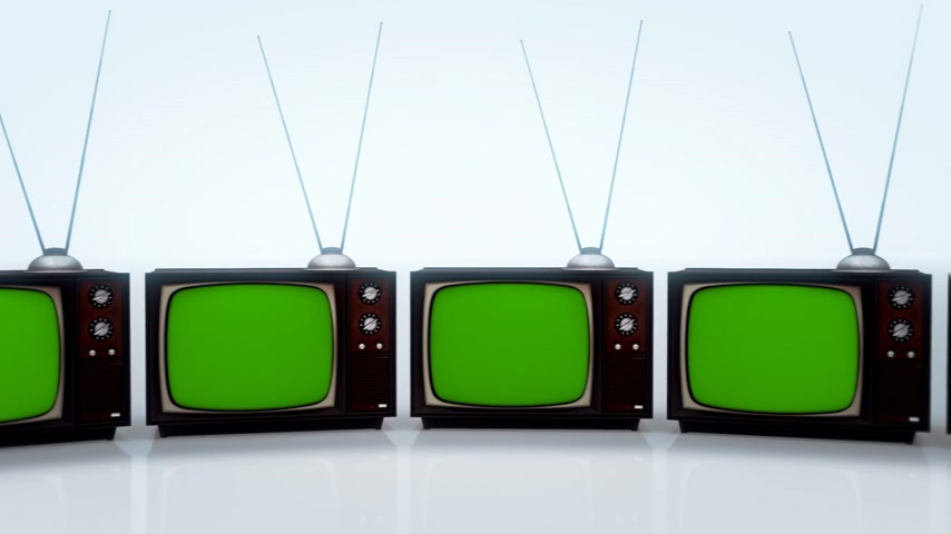 вещание : 01564 Exhibition Of Old Retro Color Tv Sets With Antenna