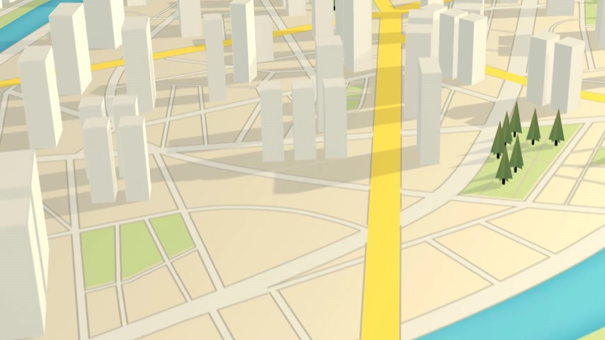cartografia : 01571 3D View of abstract city map. GPS navitation Scyscrapers cityscape urban mapping Stock Footage