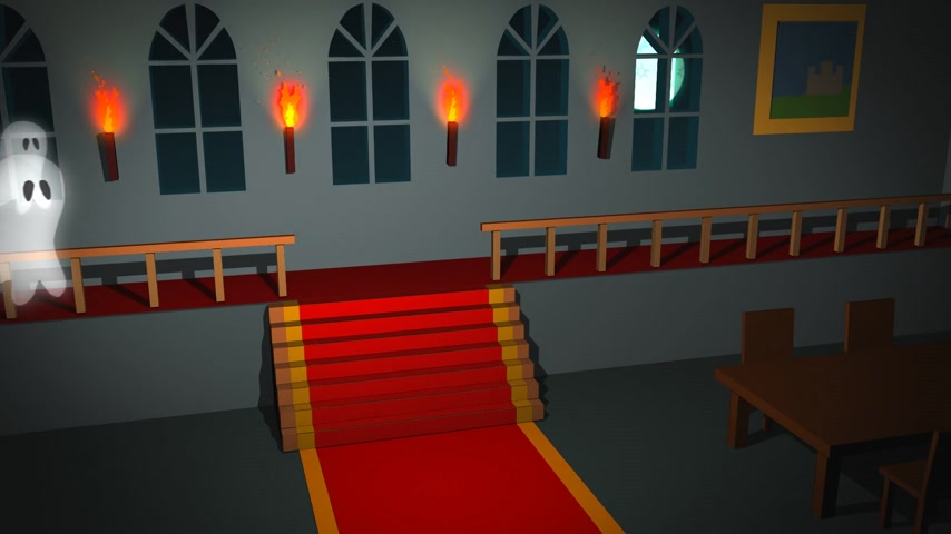 perili : 01587 Spooky Halloween Interior with Ghosts in the house. Levitating funny
