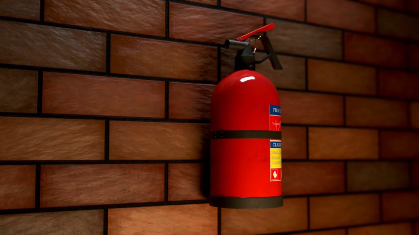 цилиндр : 01594 Extinguisher On The Brick Wall during fire with smoke. Safety alarm emergency