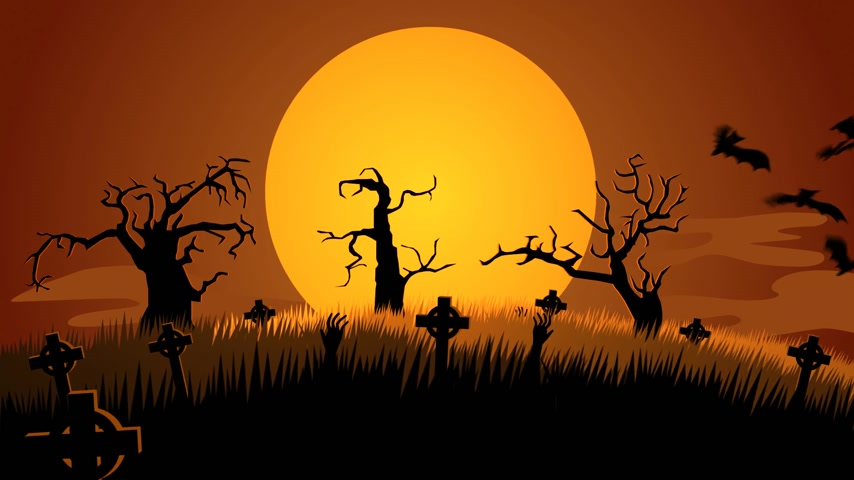 október : 01599 Spooky Halloween Pumpkin Face Appear In A Full Moon With Autumn Leaf And Bats Flying At Spooky Graveyard Stock mozgókép
