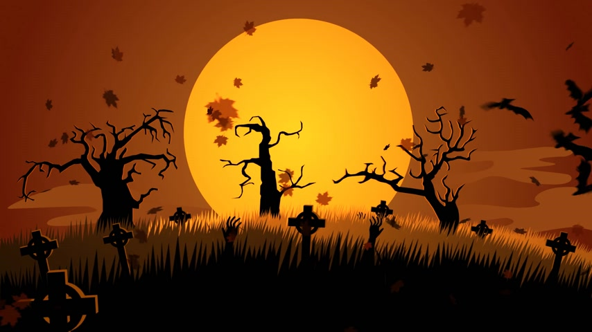 október : 01600 Spooky Halloween Pumpkin Face Appear In A Full Moon With Autumn Leaf And Bats Flying At Spooky Graveyard