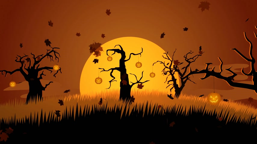 gravestone : 01602 A Creepy Graveyard Halloween Background Scene With Graves, Evil Pumpkins on Trees, And Spooky Moonlit Sky