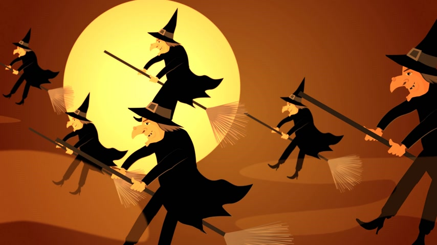 lidércnyomás : 01611 Halloween Witches Flying On A Broomsticks Against A Full Moon At Night